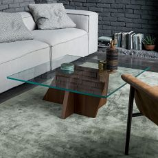 Stripe-T - Dall'Agnese coffee table made of veneered wood with glass top, different colours available
