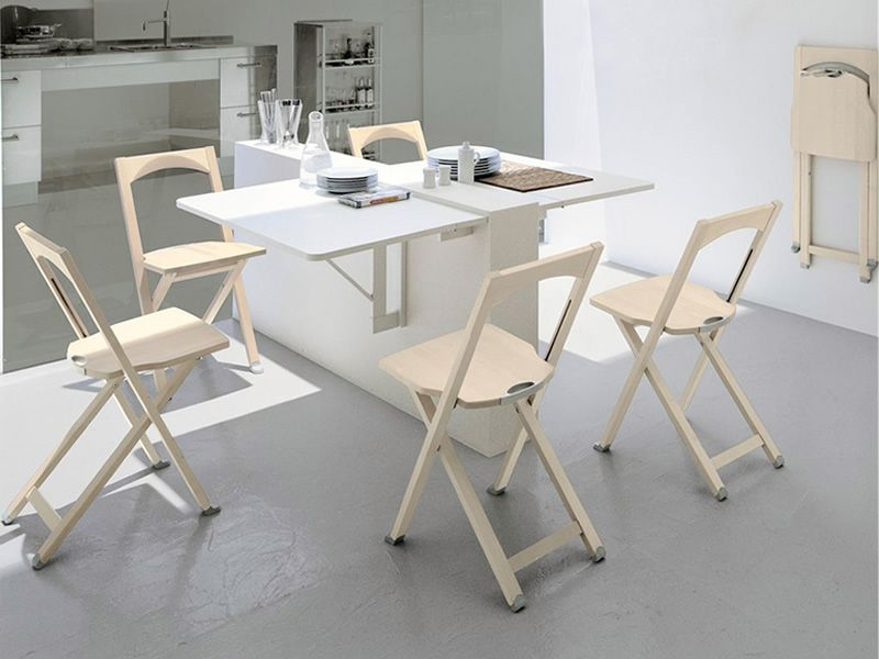 ... CB208 Olivia   Folding Chairs Made Of Whitened Beech Wood, Matched With  CB08 Quadro Table