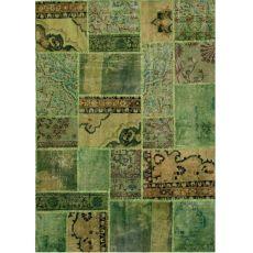 Antalya Green - Tapis vert en pure laine vierge, tissé à la main