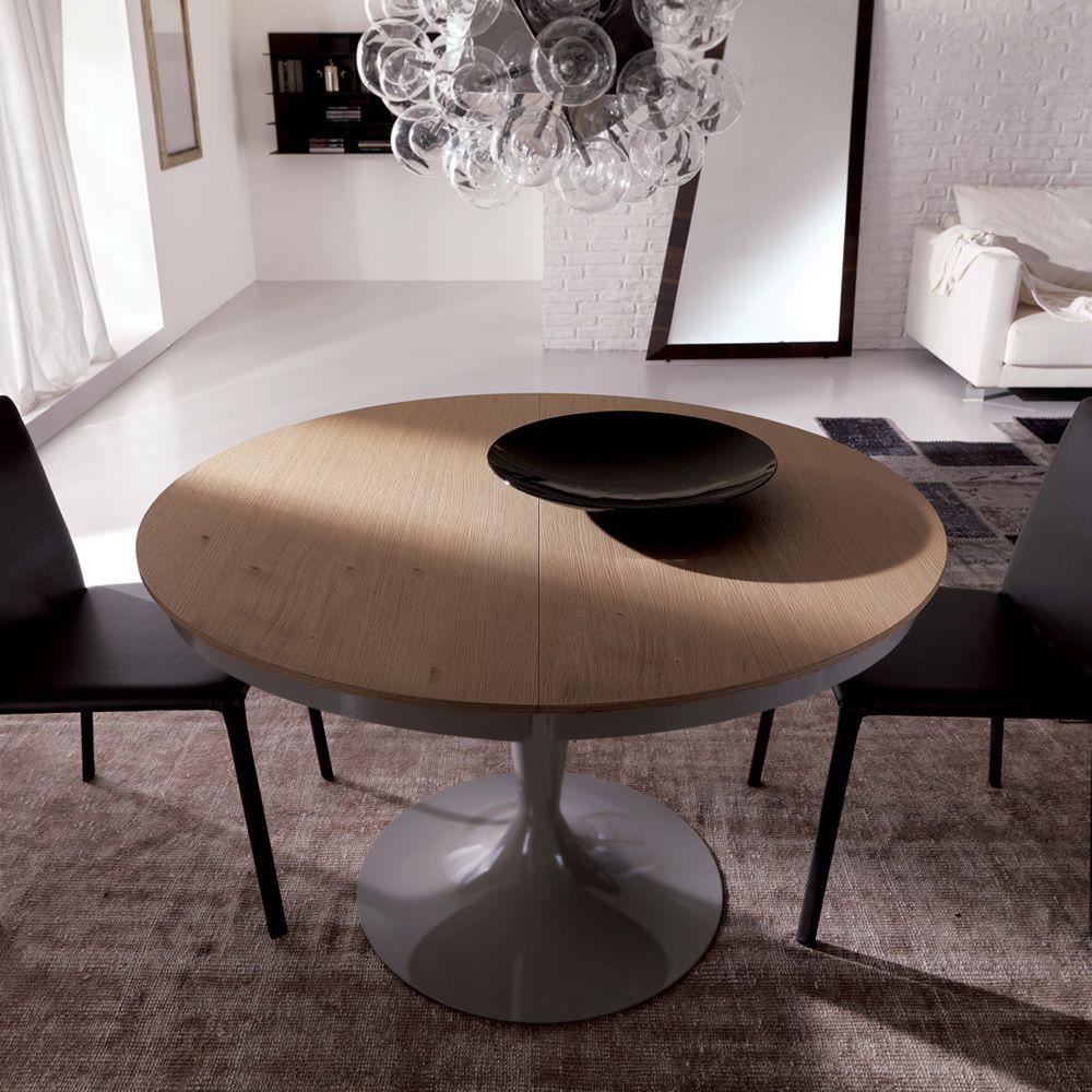 Eclipse L - Tavolo moderno in metallo, piano in legno diametro 118 ...