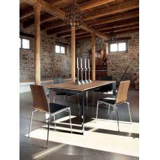 Universe-160 METALLO - Tavolo Domitalia, piano vetro, legno o ceramica, 160x90 cm, allungabile