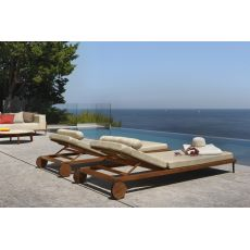 Cleo L - Modern sun longer in teak, adjustable backrest, cushion wih removable covering
