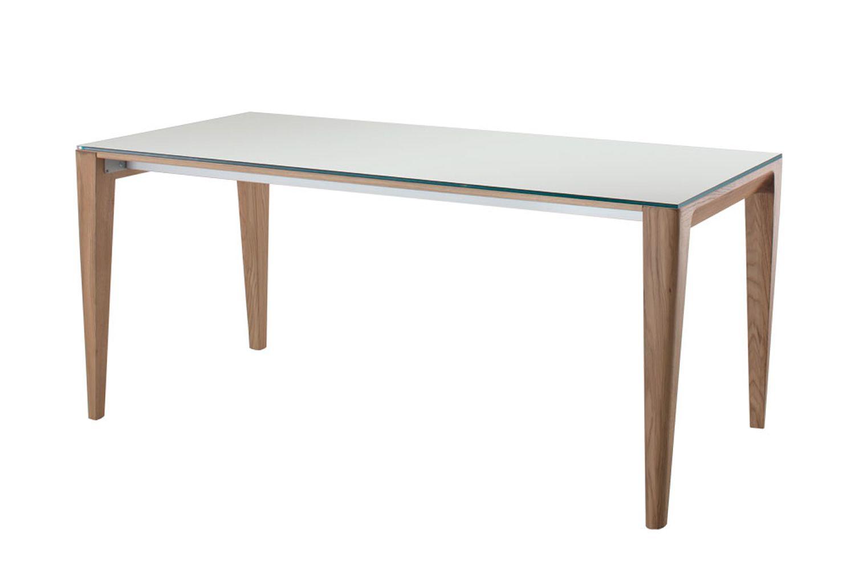 Anassimene moderner holztisch fest oder verl ngerbar for Weisser tisch mit dunkler platte
