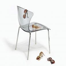 Glossy - Sedia impilabile Infiniti in metallo, seduta in policarbonato o con rivestimento, diversi colori