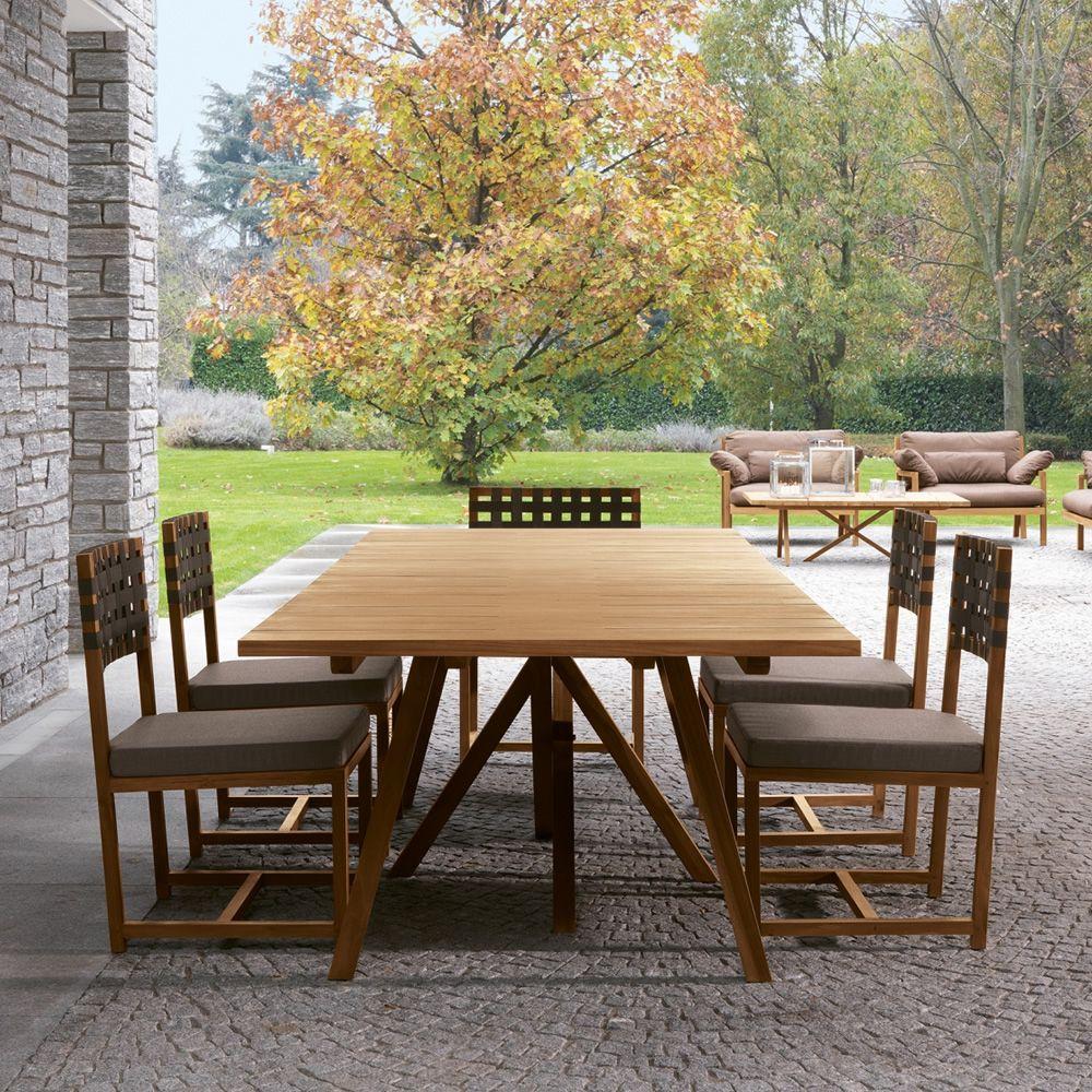 Exit table   tavolo colico per giardino, in teak riciclato, fisso ...