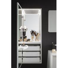 Campus M - Colonna trucco in legno, con luce interna LED, presa, interruttore, 2 specchi e 3 cassetti, disponibile in diversi colori