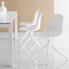 CB1694 360 Academy - Chaise Connubia - Calligaris, pivotante, en aluminium, assise en polypropylène ou avec revêtement en simili cuir, disponible en différentes couleurs