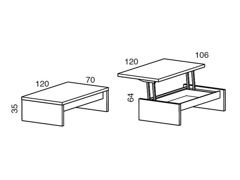Tritone - Tavolino da salotto trasformabile in scrivania, diverse finiture - Sediarreda
