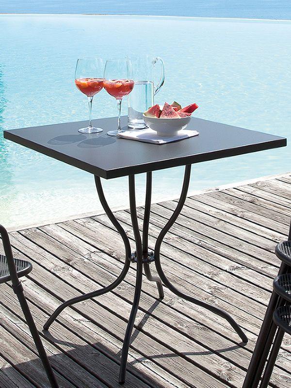 Candle tavolo in metallo da giardino piano quadrato - Porta ombrellone ...