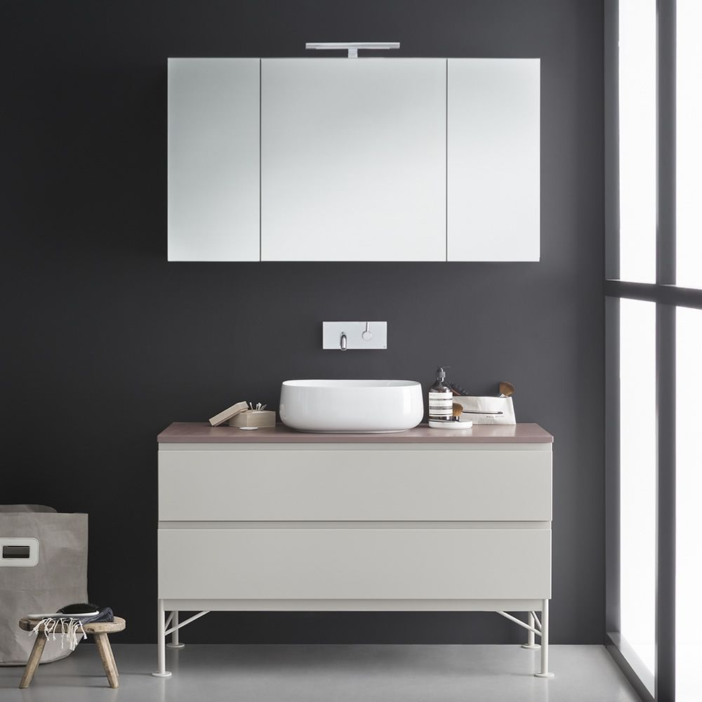Memento d mobile bagno con lavabo in ceramica piano in for Lavabo bagno mobile