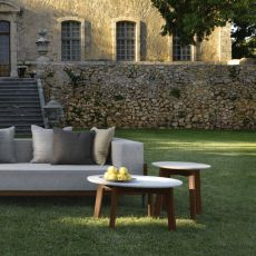 Cleo T2 - Round low table in teak and marble, available in several sizes, also for garden