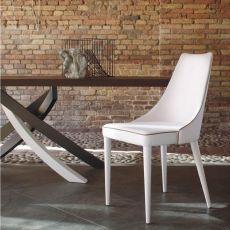 Clara - Silla tapizada Bontempi Casa, en metal acolchada, disponible en distintos revestimientos
