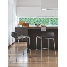 CS1001 Online - Calligaris stool made of metal and plywood, seat height 65 or 80 cm