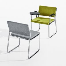 Colette - Modular chair for waiting or conference room, metal frame, padded seat and backrest, with or without armrests