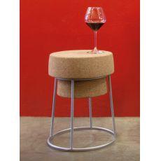 Bouchon B - Sgabello Domitalia in metallo con seduta in sughero, altezza 46 cm