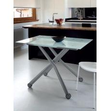 Esprit-V - Tavolo Domitalia in metallo con piano in vetro, 110 x 75 cm, allungabile e regolabile in altezza