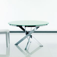 Barone Ext - Design round table Bontempi Casa, extendible, diameter 125 cm, with metal central base and top in glass, available in different colours