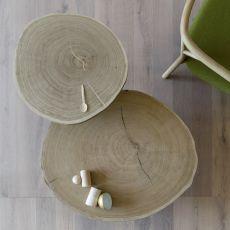 Porcino - Tavolino Miniforms in metallo, piano in legno di rovere, disponibile in diverse misure
