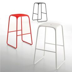 Bobo S - Infiniti painted metal stool, polypropylene seat, different colours and sizes