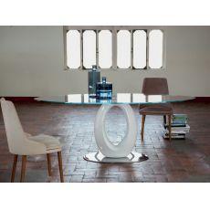 8001 Origine - Tavolo design Tonin Casa in agglomerato, con piano vetro 180x105 cm