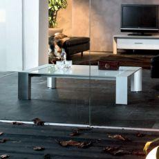 Miami 6213 - Tavolino quadrato Tonin Casa in alluminio, con piano in vetro