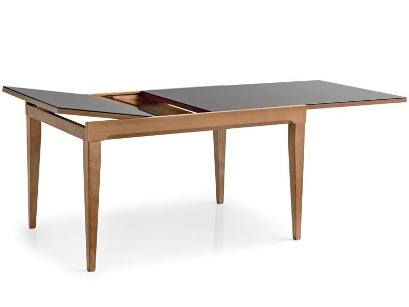 702 1v table en bois rallonge plan verre 130x90 cm for Plan table en bois
