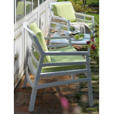 Aria - Polypropylene bar armchair, with cushions, several colours, for outdoor