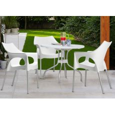 Ribalto Top 188 - Table for outdoor with reclining top, metal and polypropylene, square 80x80 cm or round 95 cm, available in several colours