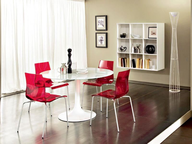 ... Corona 120   Round Table Made Of White Varnished Metal With Top In  Glass Or MDF ...