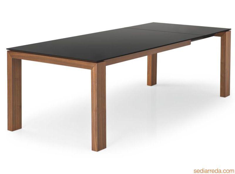 Cs4069 lv 180 sigma table rallonge calligaris en bois for Plateau de bureau en verre serigraphie