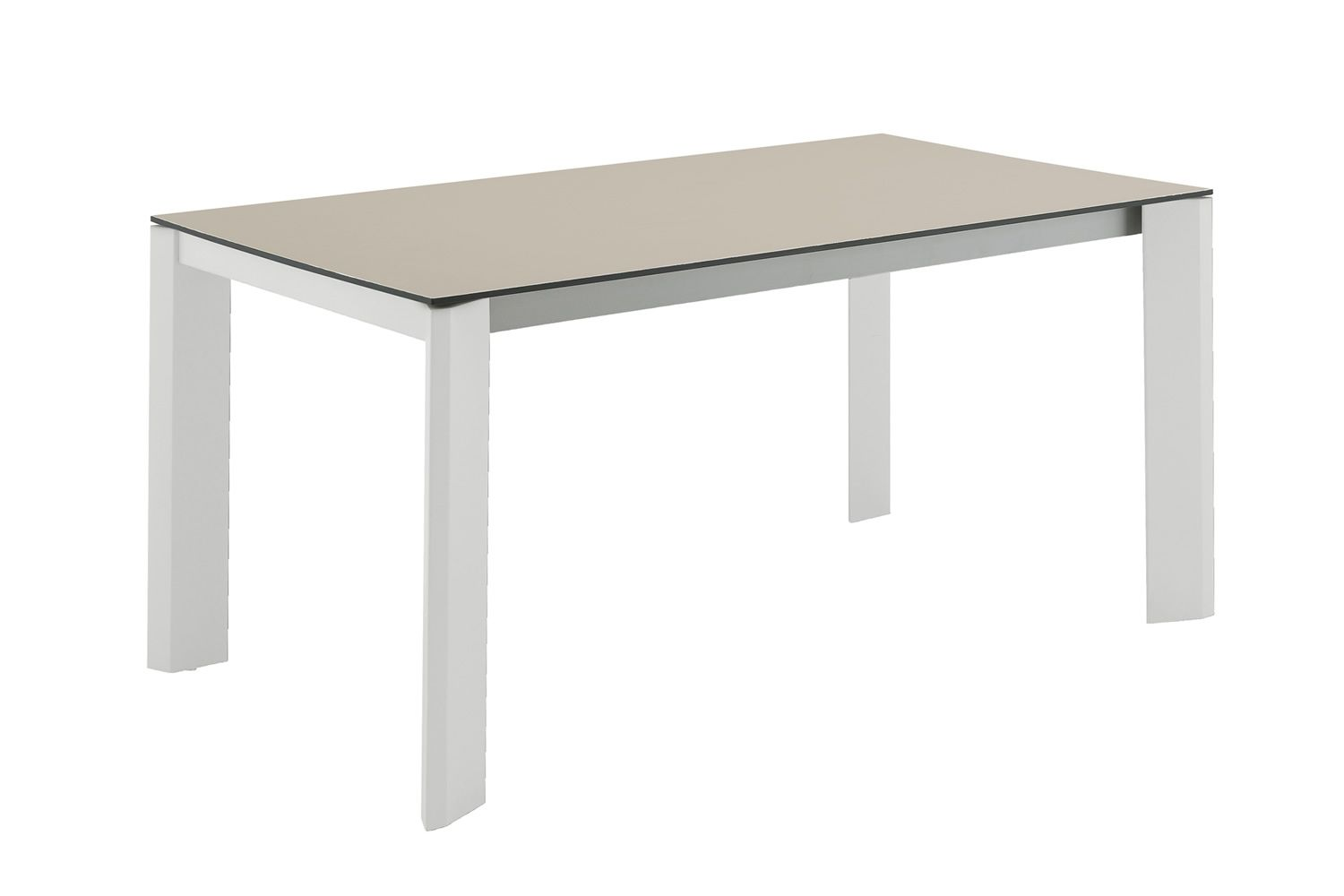 Neos 160 table domitalia en m tal plateau en verre ou for Table verre blanc extensible