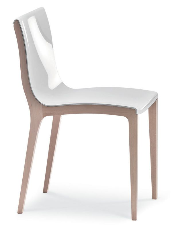 md125 chaise moderne en bois avec assise en polycarbonate. Black Bedroom Furniture Sets. Home Design Ideas