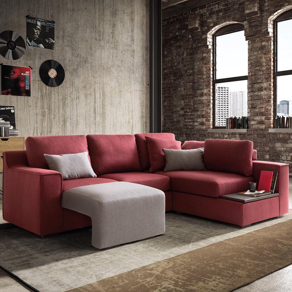 Vanity top divano moderno con vassoio e poggiapiedi - Divano con poggiapiedi ...