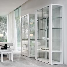 Aurora 6252 - Tonin Casa cabinet made of glass and wood, several finishes available, 110 x 45 cm, with LED system