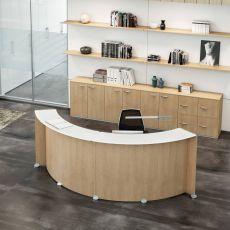 Reception Glass - Banco per reception da ufficio in legno, top in vetro