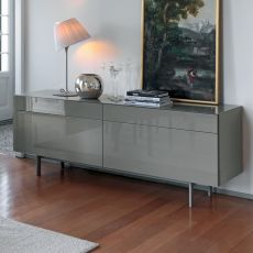 Aly 105 - Contemporary sideboard Bontempi Casa, in wood and glass, available in different colours