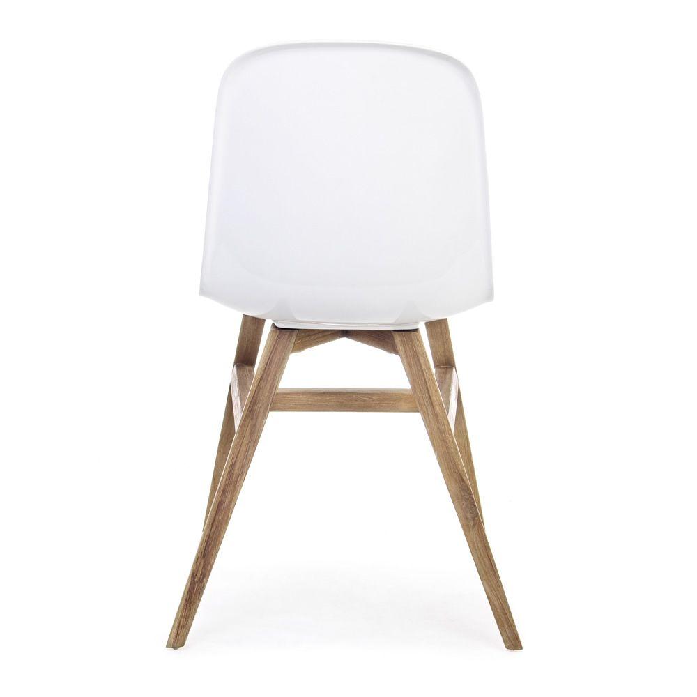 Sila chaise en teck avec l 39 assise en fibre de verre for Chaise fibre de verre