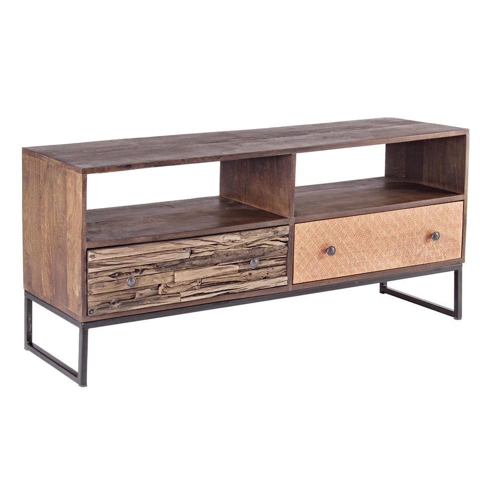 Abuja 2c mueble bajo vintage para la sala de estar en for Mueble hierro y madera