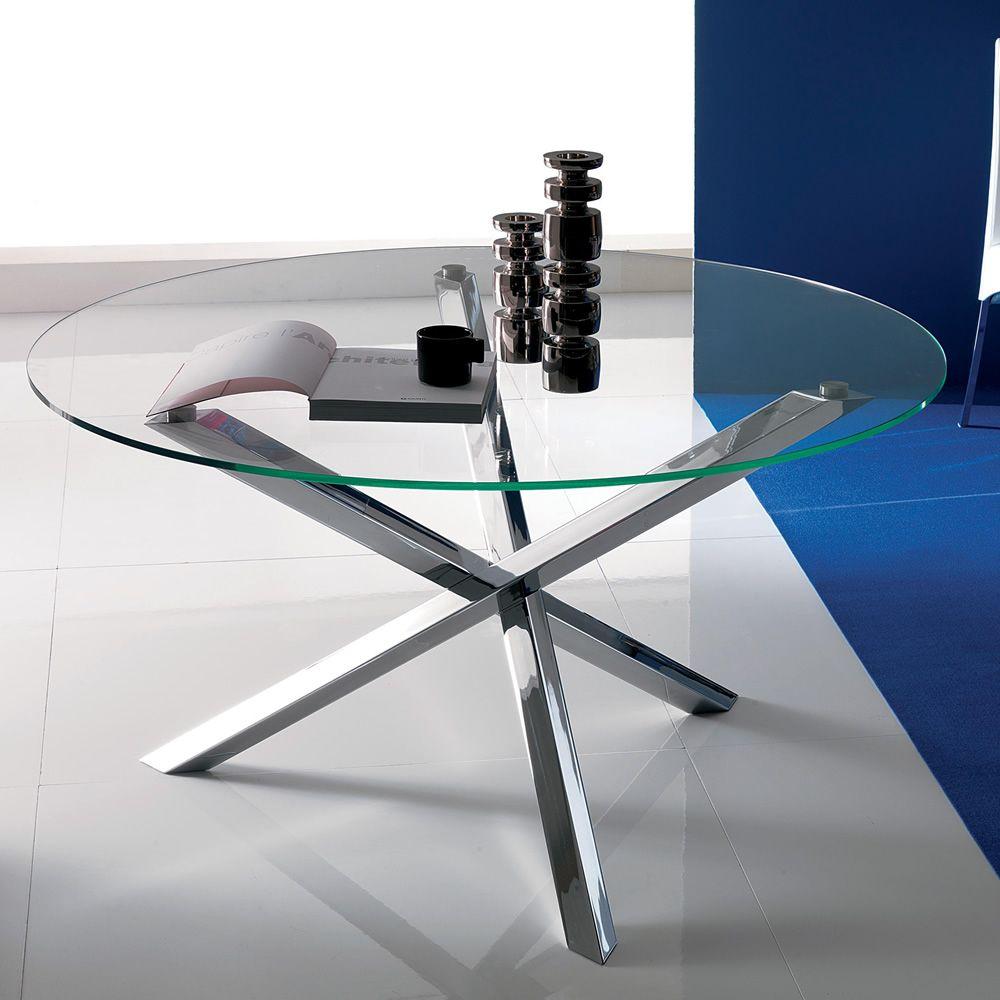 Tucson tavolo rotondo di design fisso diametro for Glass tavoli cristallo