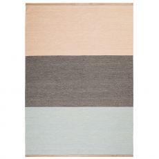 Fields 3 - Tapis en pure laine, en deux différentes couleurs, bords en cuir, 170 X 240 cm
