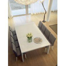 Fashion Q - Tavolo Domitalia in legno con piano in vetro, 140 x 140 cm allungabile