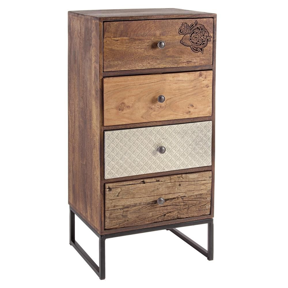 abuja 4c cassettiera vintage in legno con gambe in ferro con quattro cassetti sediarreda. Black Bedroom Furniture Sets. Home Design Ideas