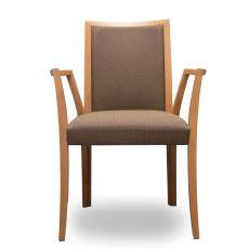 Forma P - Sedia moderna Tonon, con braccioli, struttura in legno e seduta imbottita