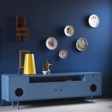 Caixa - Miniforms sideboard in wood, with two doors and integrated loudspeakers