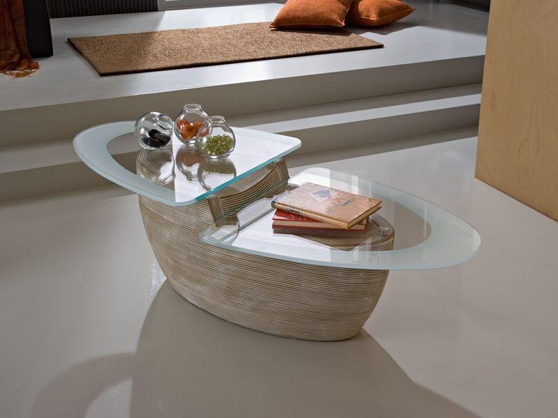 PA37 Couchtisch aus Glas und Keramik, in verschiedenen