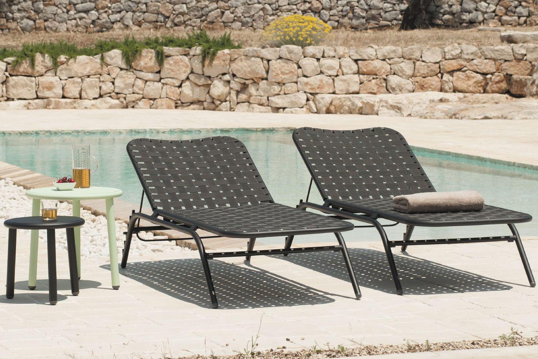 yard l bain de soleil emu en m tal dossier inclinable empilable sediarreda. Black Bedroom Furniture Sets. Home Design Ideas