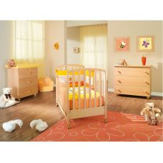 Ciak - Pali wooden cot with drawer, bed slat base adjustable in height, available in several colours