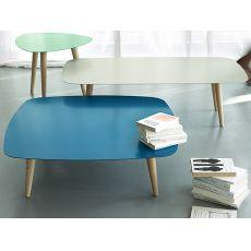 Nord2 - Tavolo di design in legno, con piano in metallo rettangolare o quadrato, disponibile in diversi colori