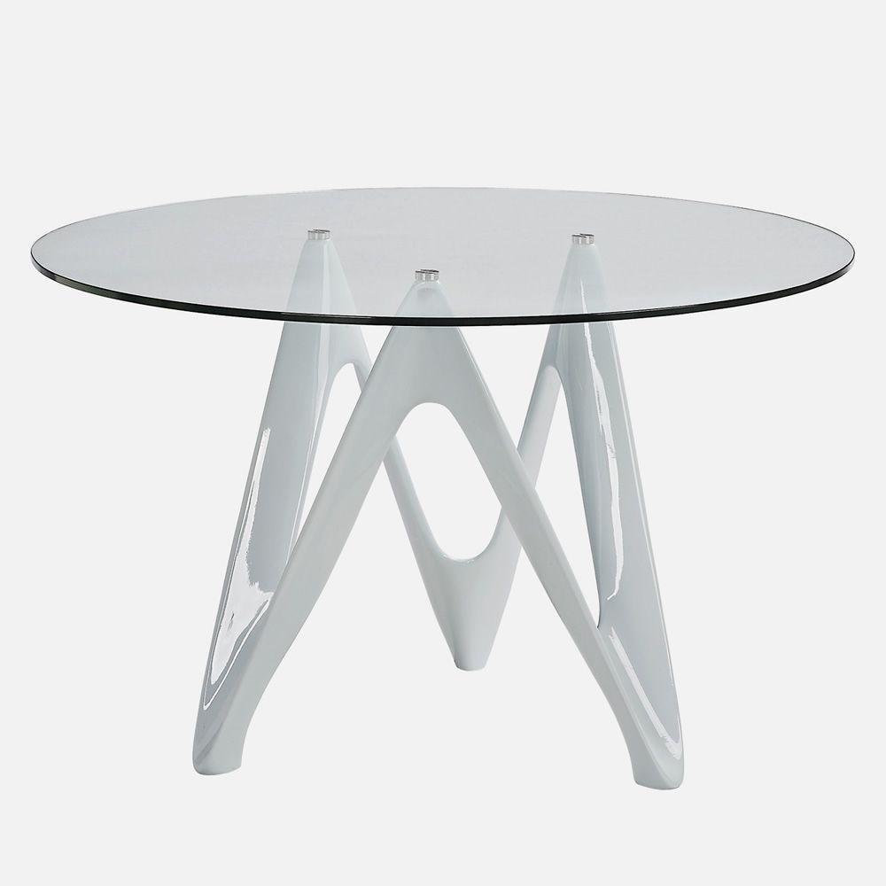 Runder Tisch Glasplatte : VR24: Runder Tisch aus Harz mit Glasplatte, Durchmesser 120 cm ...