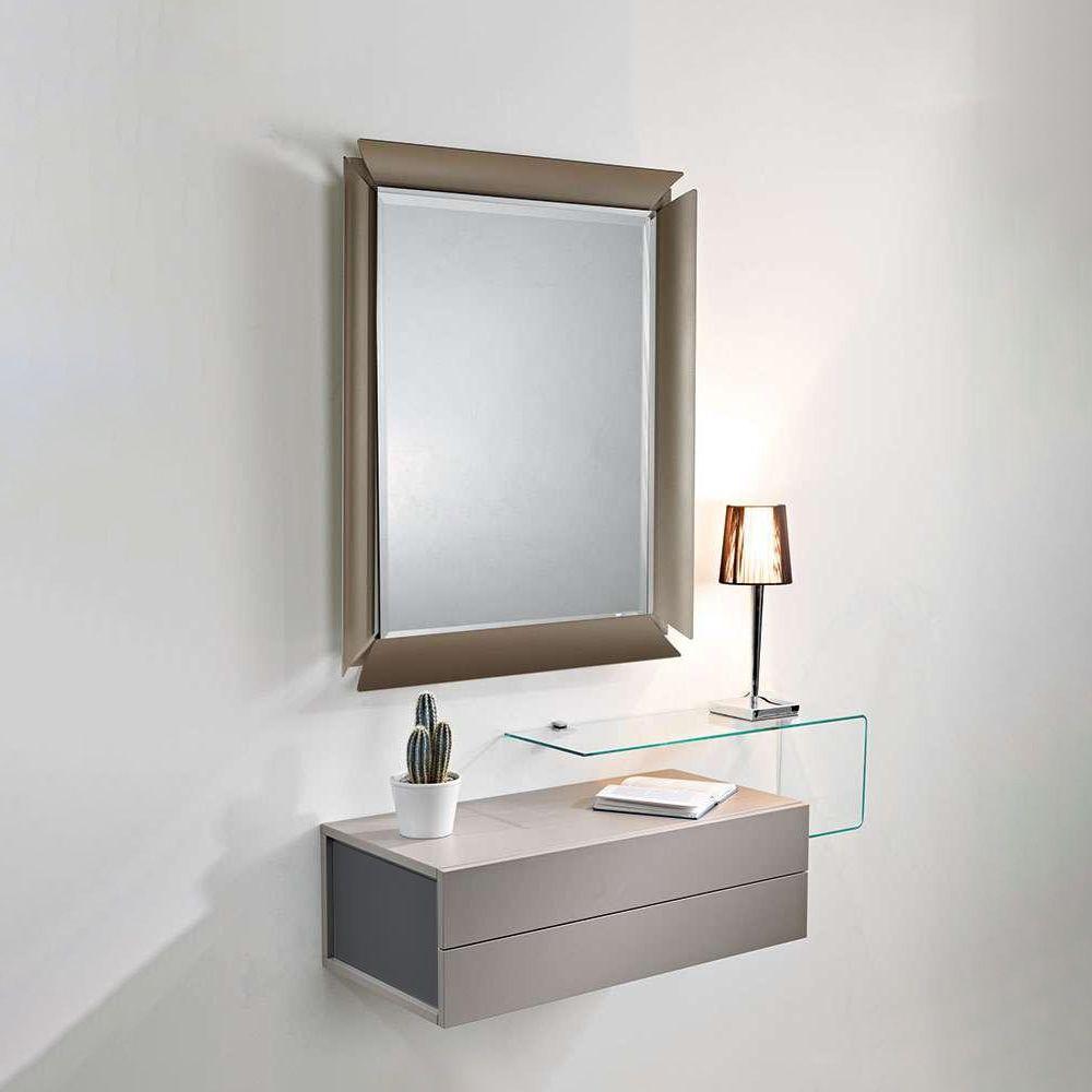 Due mobile ingresso con 2 cassetti specchio e mensola in vetro sediarreda - Mobiletto ingresso moderno ...